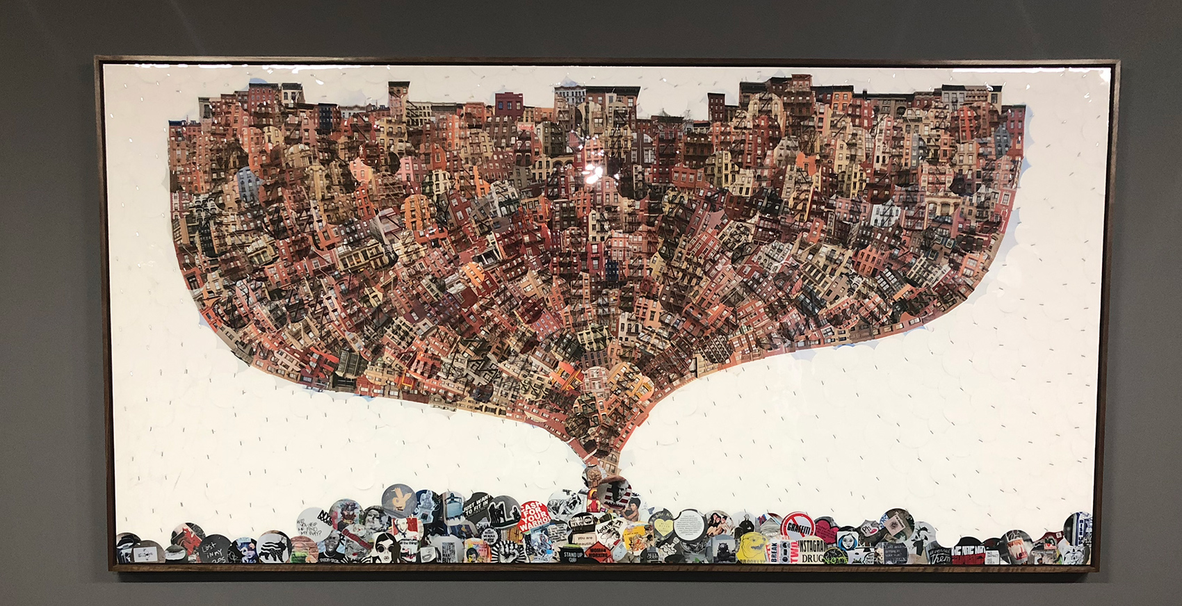 METROPOLIS. Unique. New York City. 2019. Laminated archival dye-sublimation photographs, cropped circularly, hand-mounted.   UV-resistant polymer resin surface. Birch plywood substrate is reinforced with aluminum tubing. Framed with offset 2 inch walnut. 96 x 48 x 3 inches.